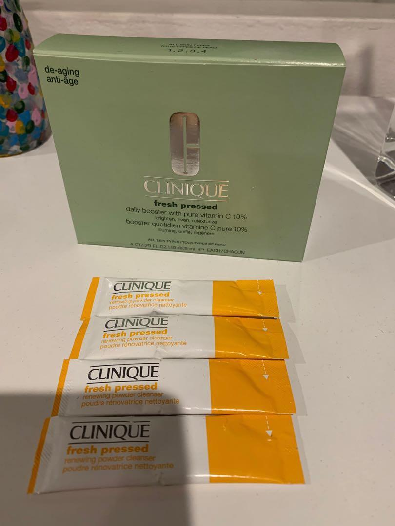 Clinique fresh pressed daily booster with pure vitamin c 10% 4x 8.5 ml , fresh pressed renewing powder cleanser 4x
