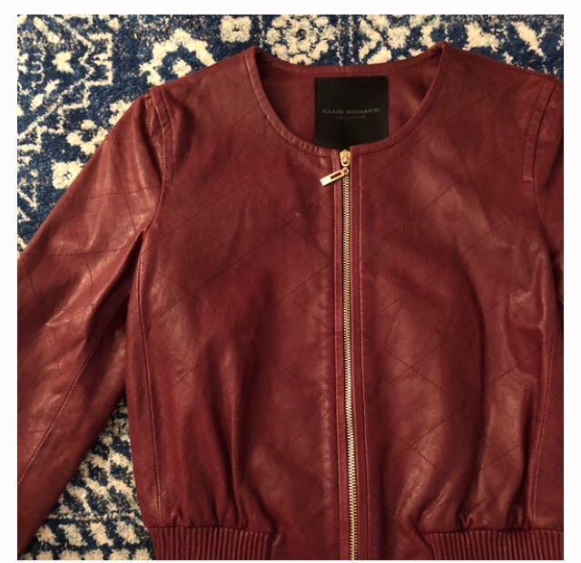 Authentic Club Monaco Zandrine Burgundy Leather Bomber jacket