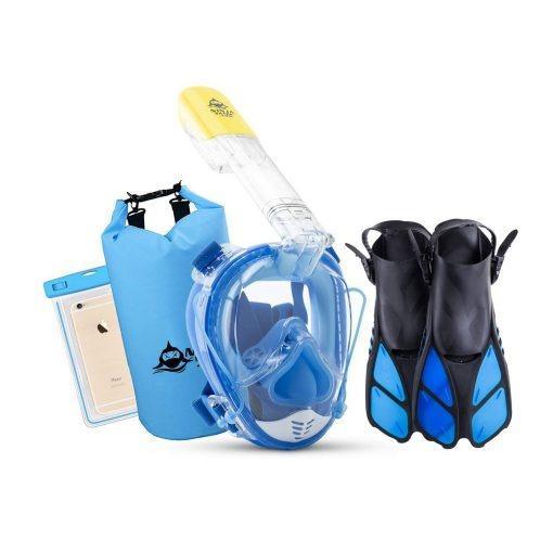 Snorkel Set - Equalizer Full Face Snorkel Mask + Fins + Bag + Phone Case