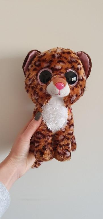 Euc Medium 9 inch 23cm TY beanie boo ty silk patches the leopard