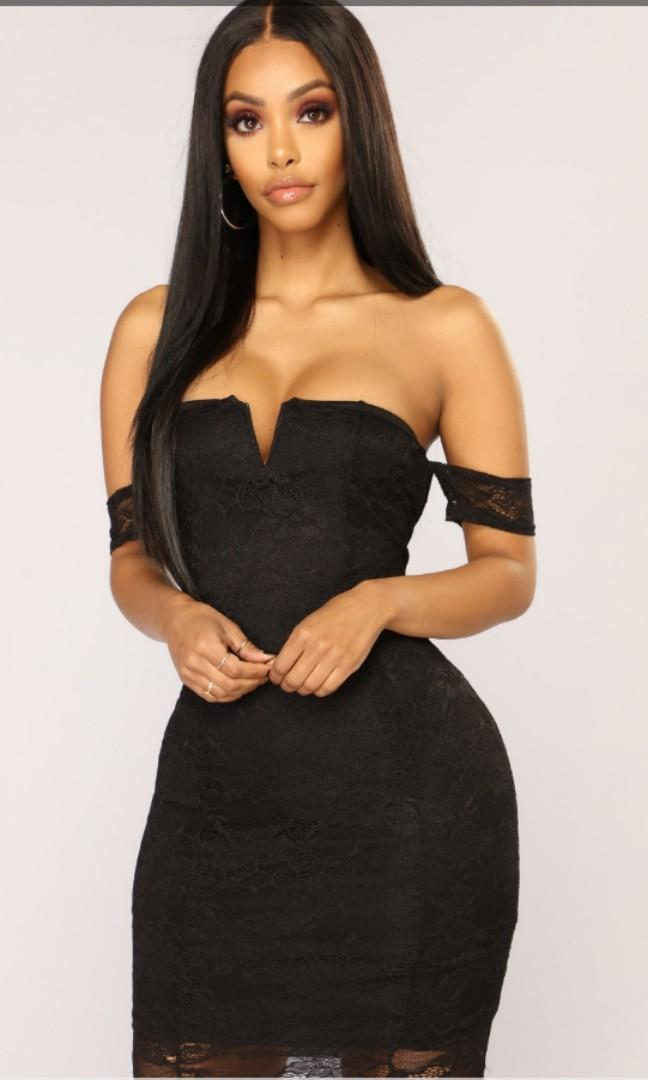 Fashion Nova Black Off the Shoulder Lace Dress small