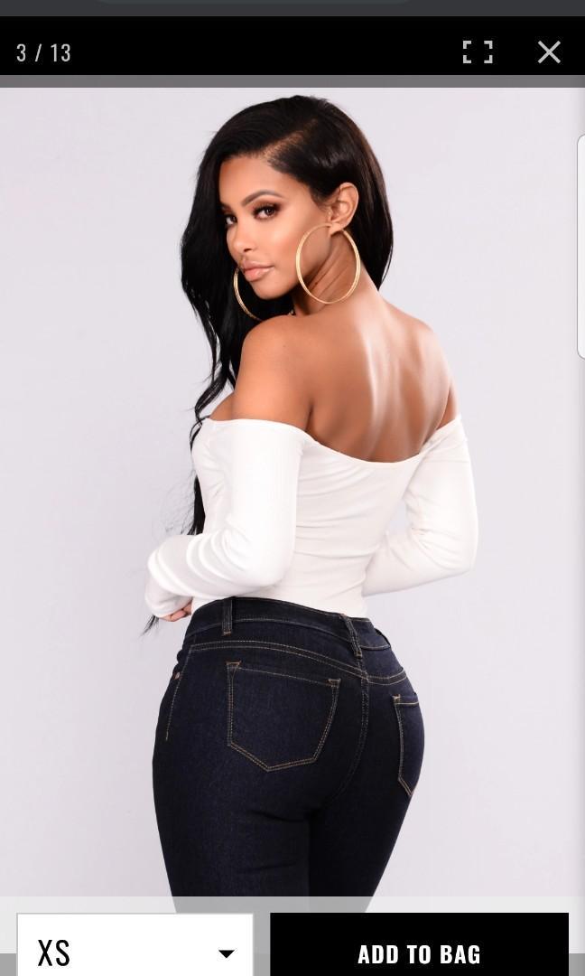 Fashion Nova Off the Shoulder White Bodysuit Small