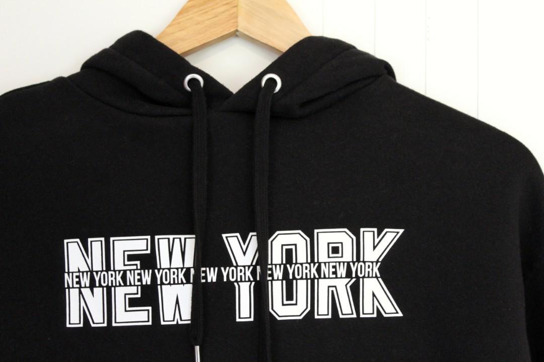 H&M • CROP HOODIE •BLACK W/ 'NEW YORK'