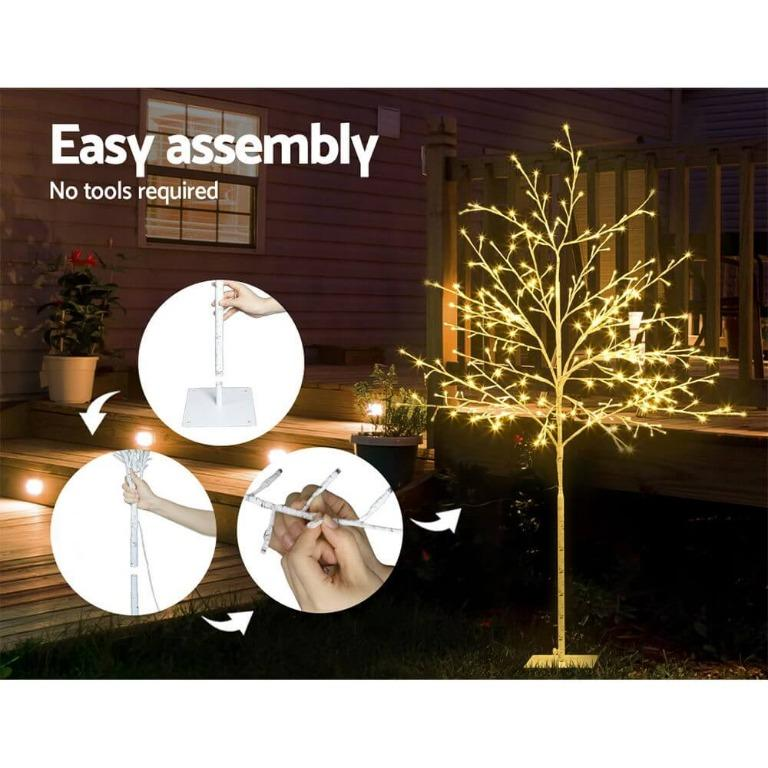 Jingle Jollys 2.1M LED Christmas Branch Tree 480 LED Xmas Warm White Optic Fiber