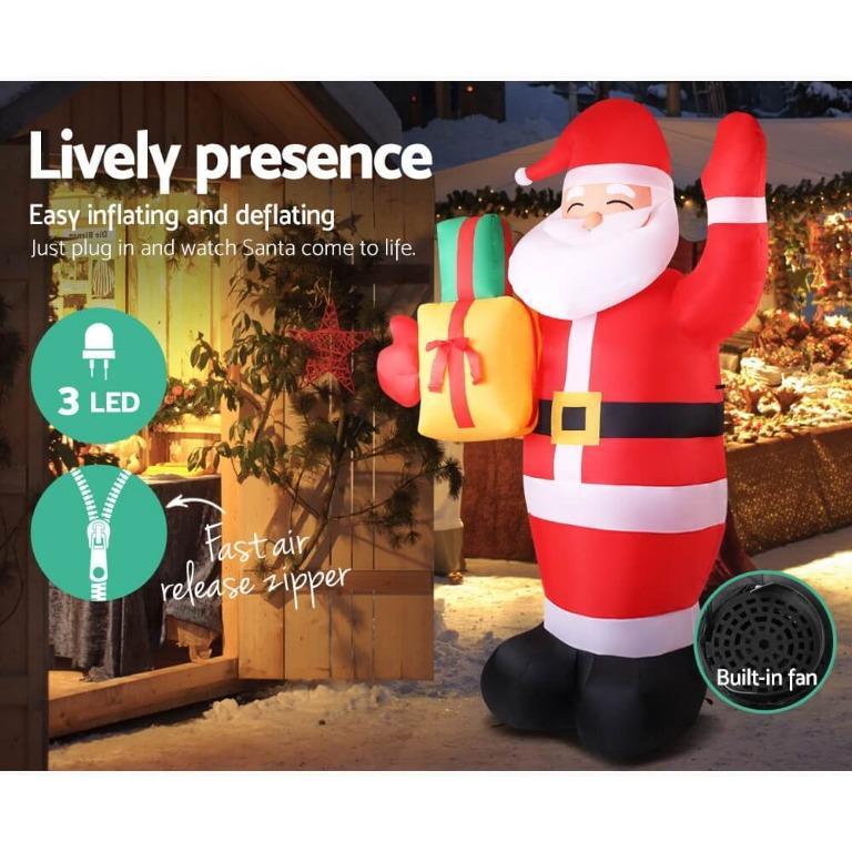 Jingle Jollys 2.4M Christmas Inflatables Santa Xmas Light Decor LED Airpower