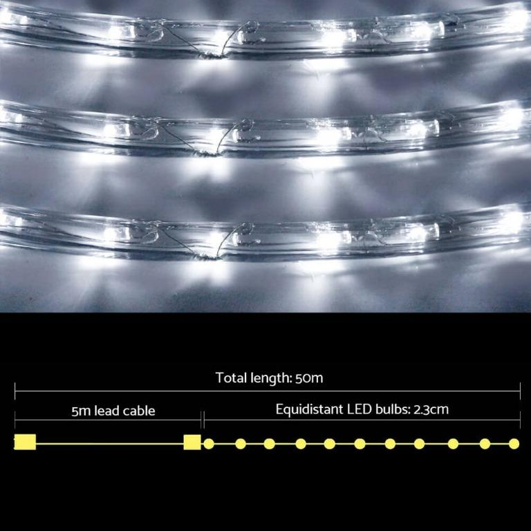 Jingle Jollys 50M Christmas Rope Lights 1200 LED Cold White