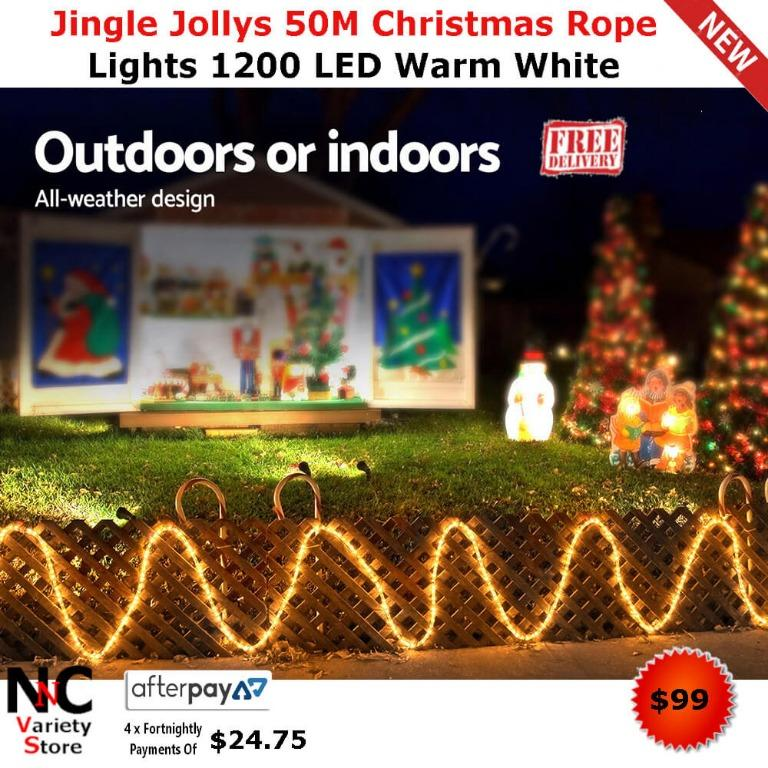Jingle Jollys 50M Christmas Rope Lights 1200 LED Warm White