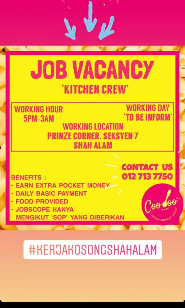 Kitchen Crew Needed in Shah Alam