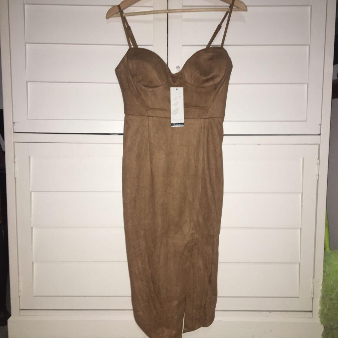 Nude brown suede cocktail dress brand new with tags