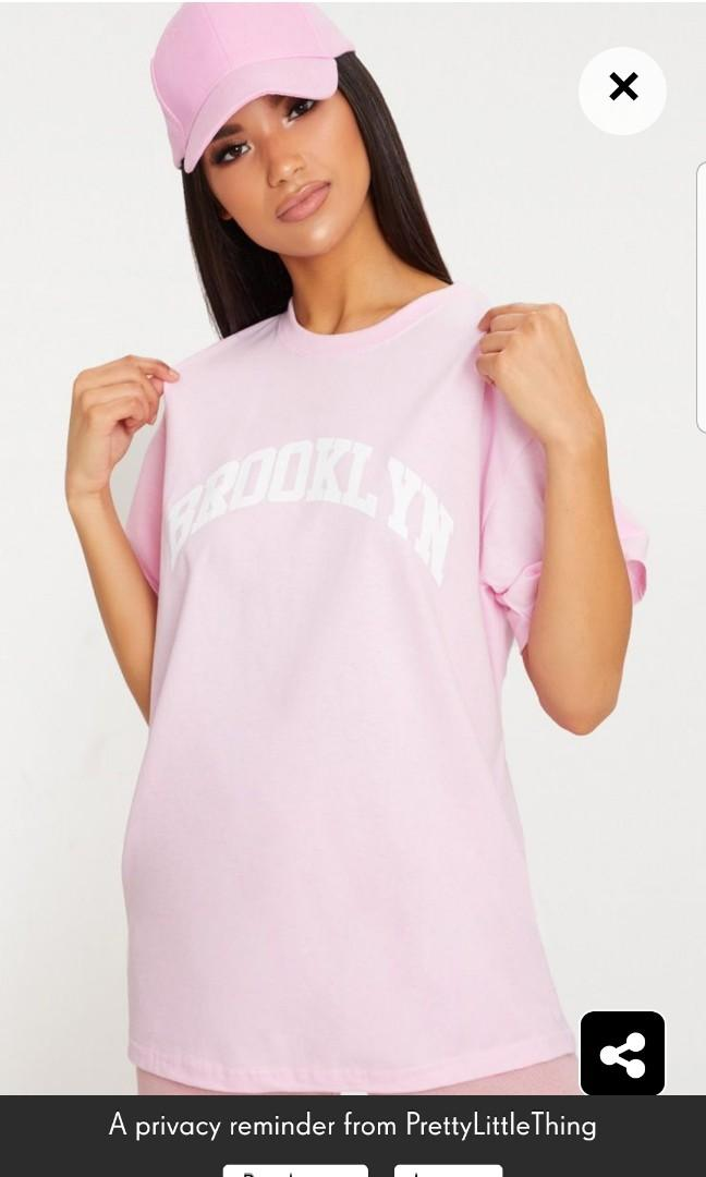 Pretty Little Thing Pink Brooklyn Oversized Tee Small