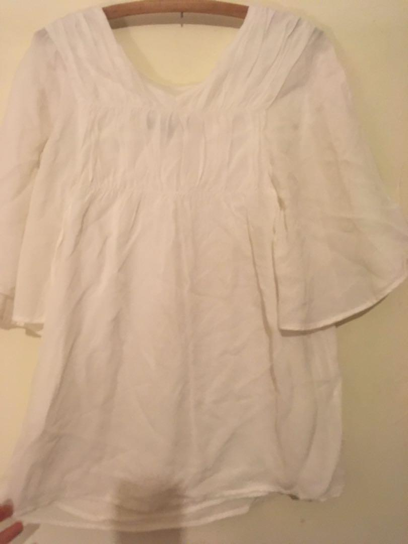 Saba white silk top