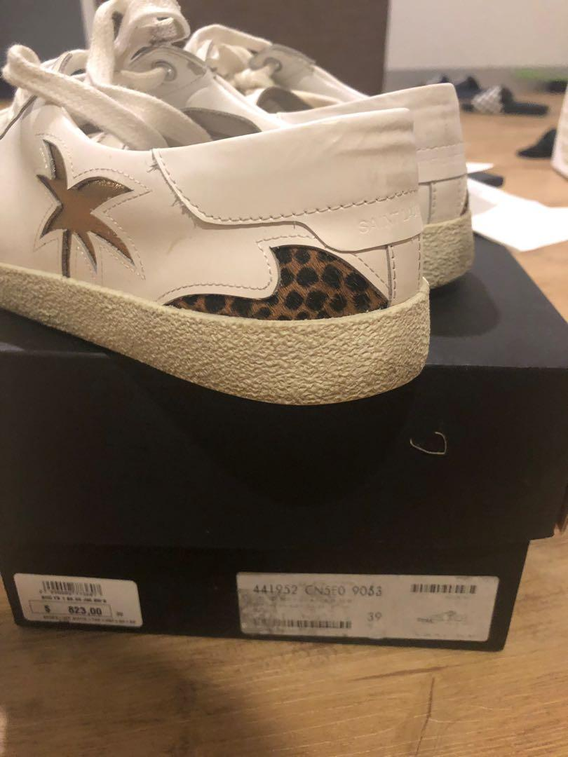 Saint Laurent Off White Leather Classic Palm Tree Sneaker