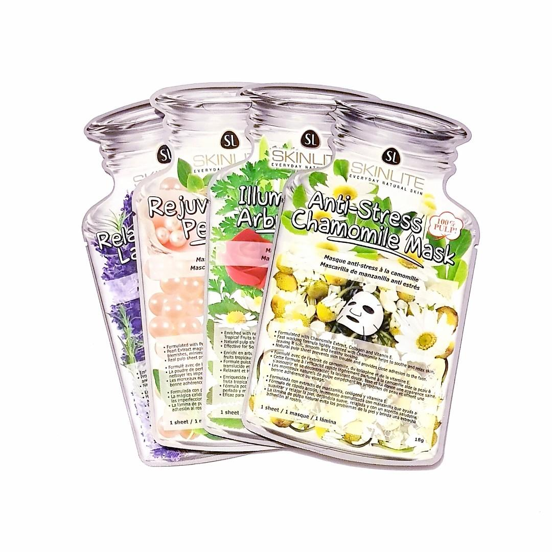 SkinLite Everyday Natural Skin Illuminating Relaxing & Calming 100% Pulp Sheet Facial Masque Face Mask