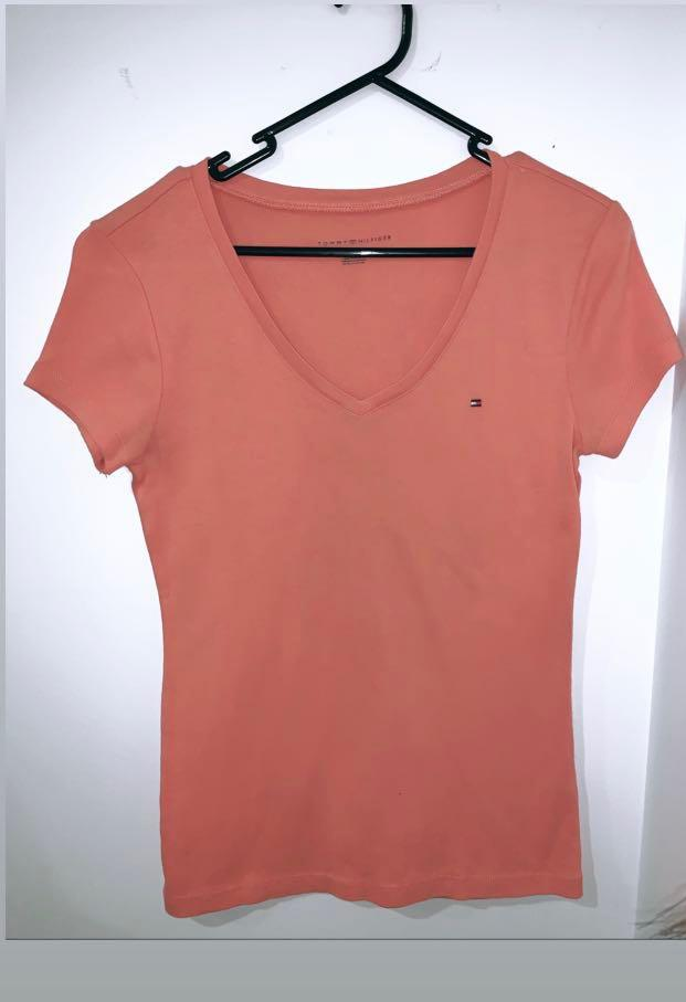 Tommy Hilfiger Original womens  top v-neck orange/pinkish Size M