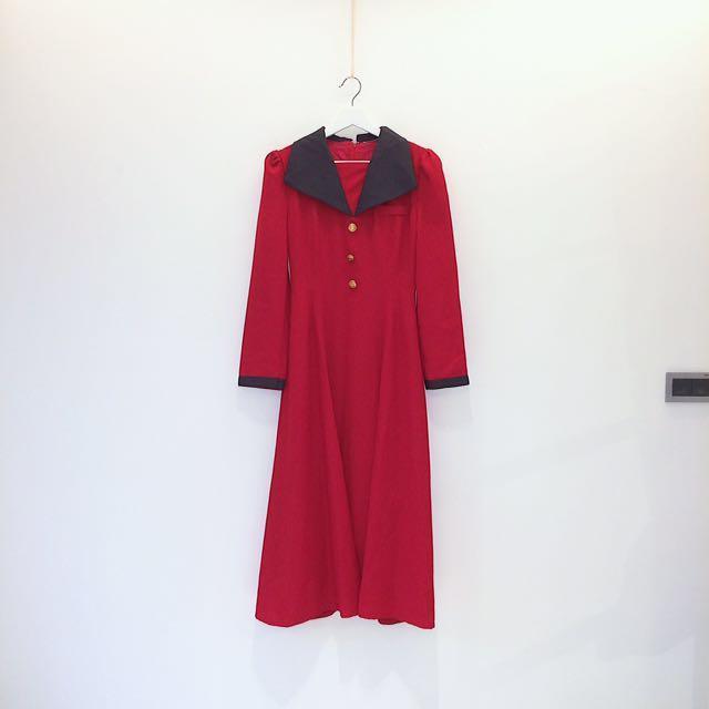 ✼紅色大V領洋裝✼ 狂賭之淵配色 灰色翻領 金扣 華麗風格合身收腰 長袖長裙  80s 90s 日本古着Vintage