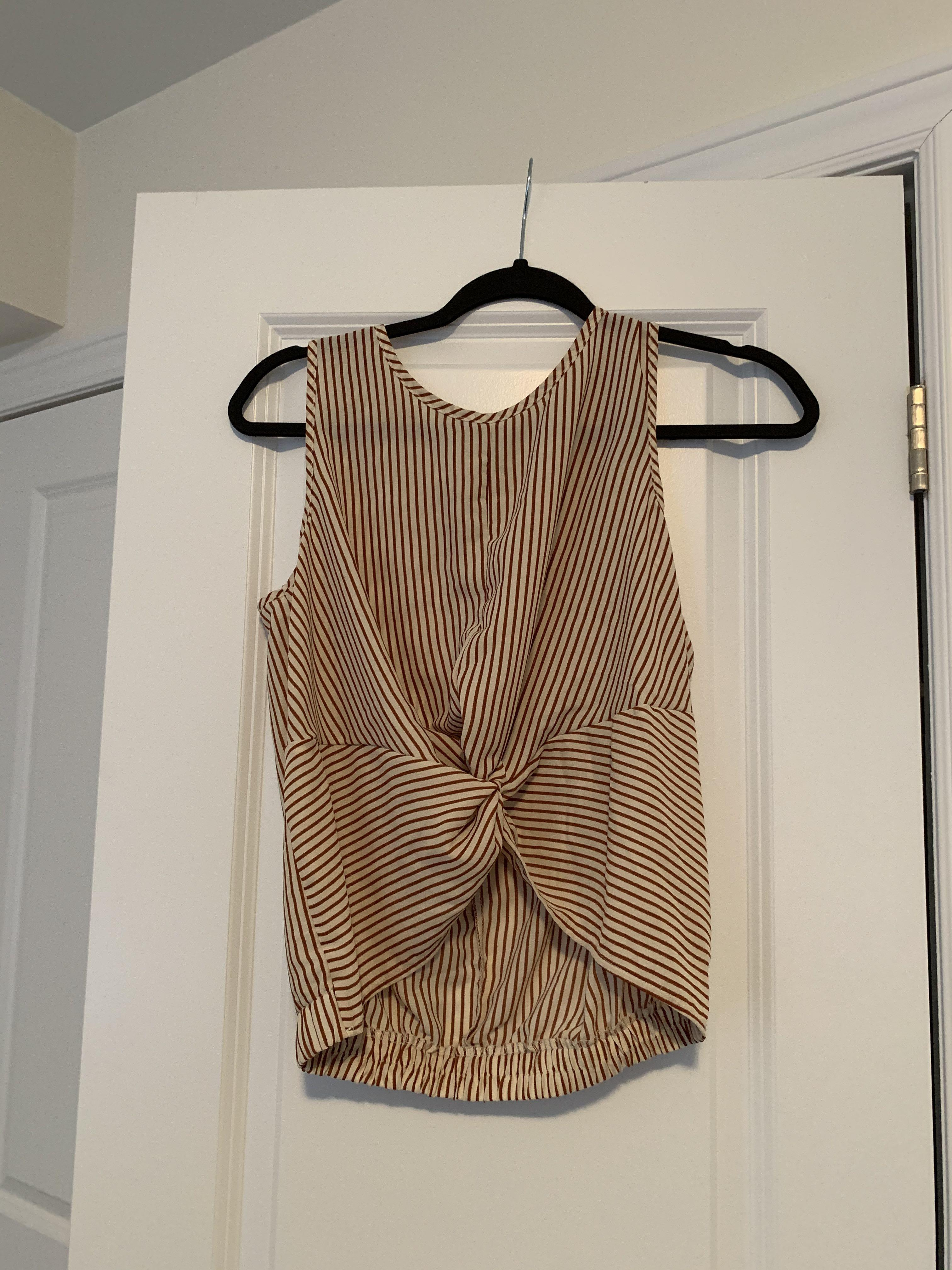 White and yellow striped sleeveless top size small
