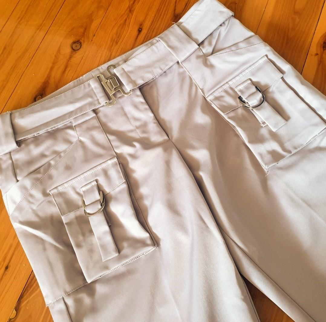 Women's size 12 'COOPER ST' Stunning khaki beige slim fit utility style pants with belt -AS NEW