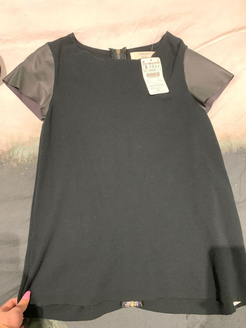 ZARA Knit Forest Green Knit & Leather Sleeve Top - Size S