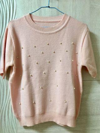 粉色 短袖 毛衣 珍珠裝飾