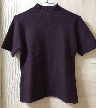 深紫色 立領 短袖 毛衣