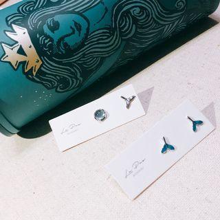 全新925純銀耳環 藍魚尾/不對稱(2款)