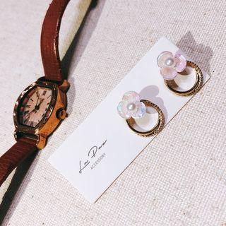 全新925純銀針耳環 氣質珠光小花