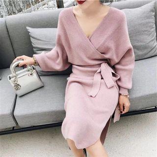韓國名媛氣質洋裝收腰針織洋裝
