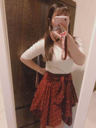 綁腰格子襯衫裙