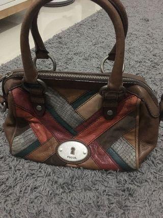 Fossil patchwork dark satchel