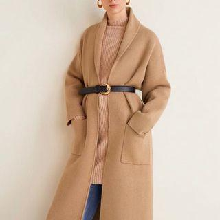 Mango Knitted unstructured camel coat cardigan