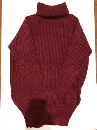 酒紅 高領毛衣