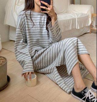 #正韓條紋長版洋裝-3色