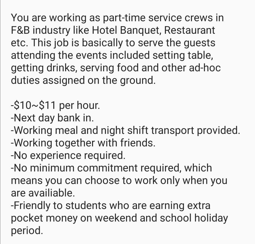 $10-$11/hr Daily Pay! Part-time Hotel Waiter Wanted!!!