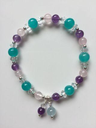 天河石粉晶紫晶手鍊
