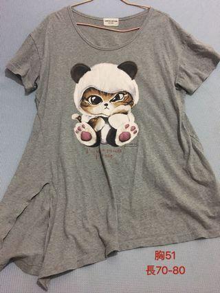 寬鬆下擺不規則 可愛大圖熊貓貓