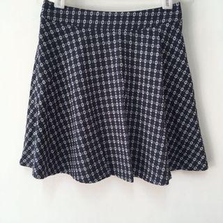 日系深藍色高腰毛呢織紋傘裙A字裙