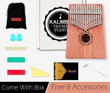 Kalimba 17 Keys Thumb Piano Acoustic Mahogany