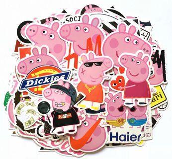 100 pcs PEPPA PIG vinyl decal graffiti stickers laptop luggage waterproof no repeat stickers