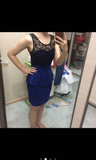#1010flazz cavalier bodycon black n blue dress