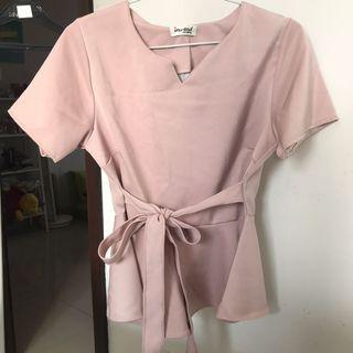 Atasan Pink / Peplum Top Nude / Blouse Wanita / Blouse Pink Muda / Soft Pink Top / Nude Top / Atasan Wanita