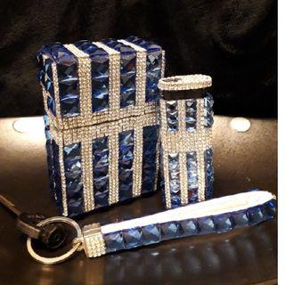 鑲嵌水晶鑽-皇冠藍寶石水晶鑽防風打火機三件組