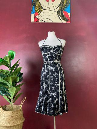 Authentic Bebe Black Satin Halter tube dress
