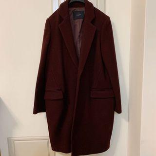 Korea -質感酒紅色大衣