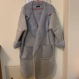 Korea-羔羊麂皮絨毛長版外套