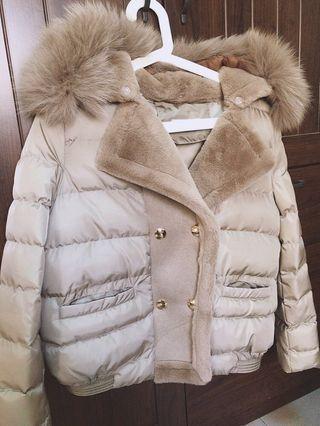 便宜賣🌟全新 可拆式毛領大翻領內刷絨雙排扣外套🧥