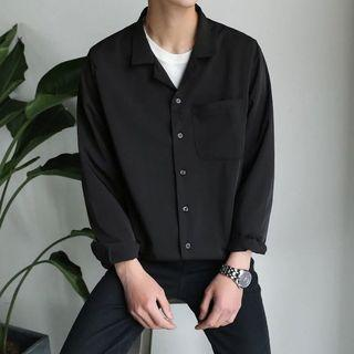 秋季韓版寬松男士純色長袖襯衫雪紡透氣打底睡衣風bf情侶襯衣日系