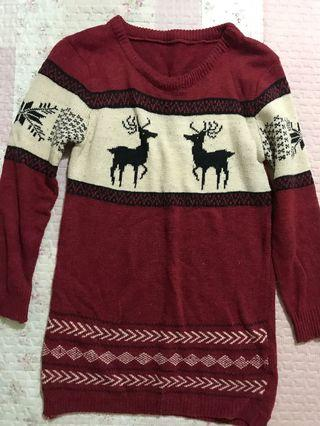 雪花麋鹿長版毛衣 暗紅