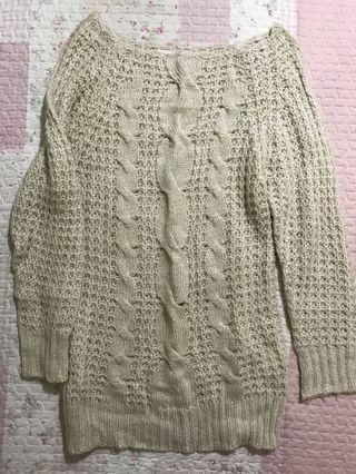 大寬領麻花薄毛衣 毛織衣