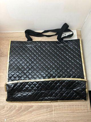 亮黑菱格紋購物袋/手提袋