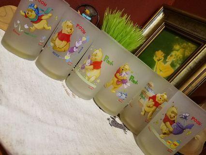 Japan Disney TALA Winnie the Pooh glassware x 6pcs